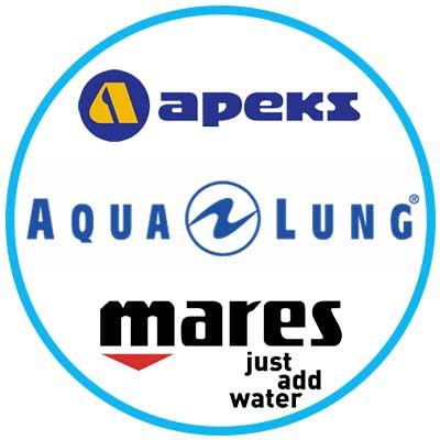 Logos of Apeks, Aqua lung, Mares