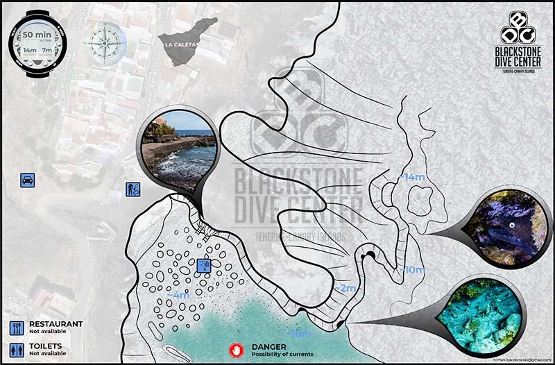 Map of the dive site called La Caleta