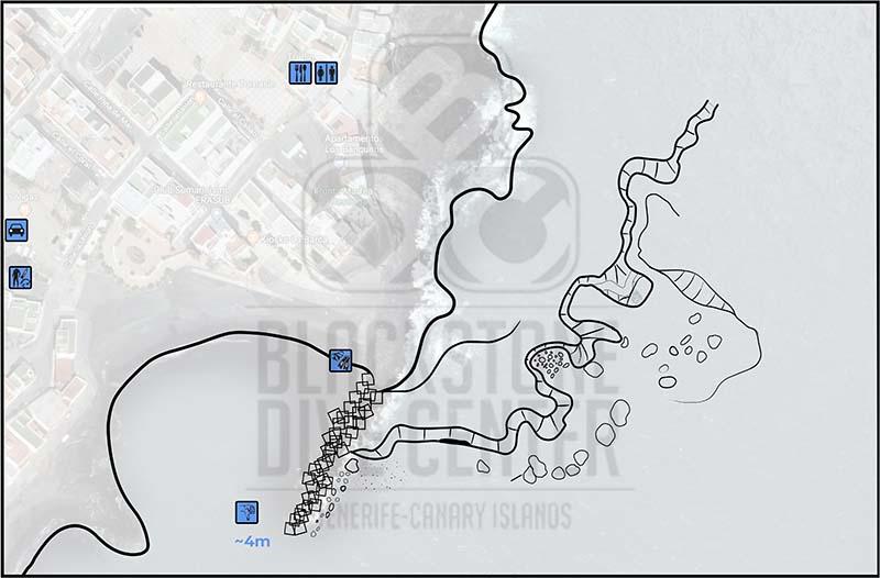 Map of Las Eras Dive Site Tenerife