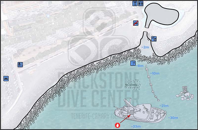 Tabaiba wreck dive site map