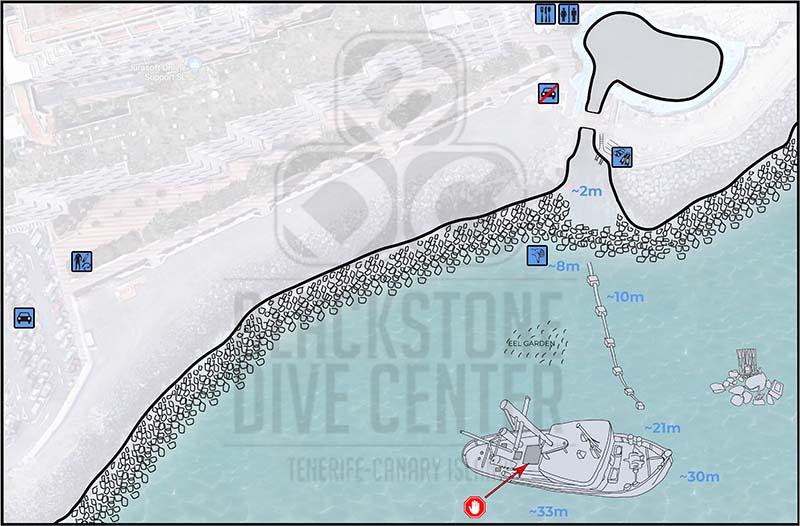Tabaiba wreck dive site map