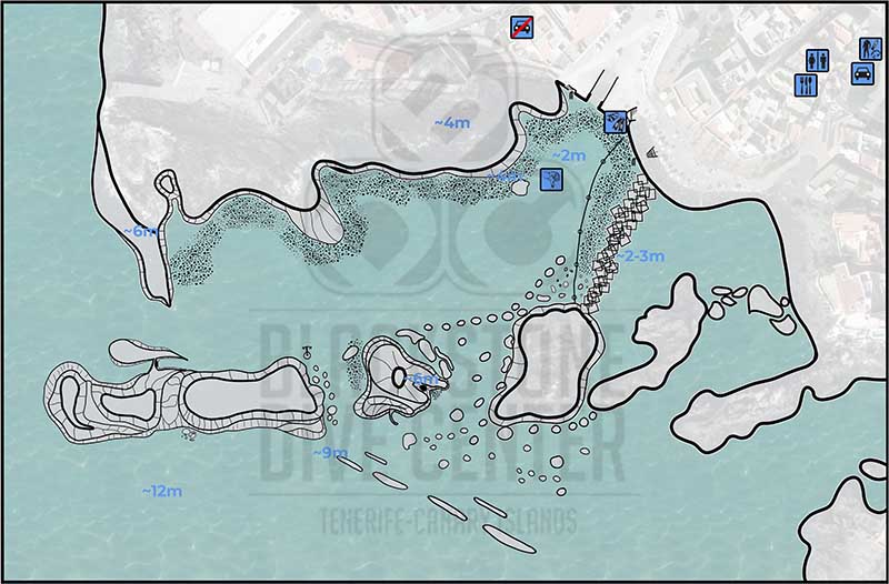 Dive Site map of Alcala turtle reef