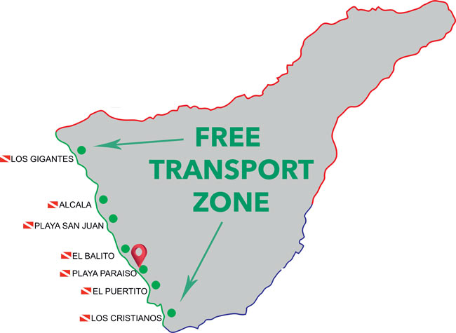 Zone of free transportation to the Dive Center